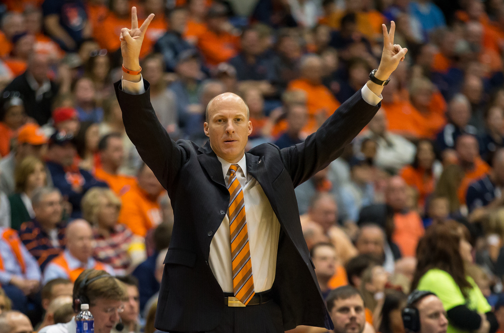 University of Illinois head coach John Groce calls out instructions to his team as they take on the University of Illinois Springfield in the second half during an exhibition game at the Prairie Capital Convention Center, Sunday, Nov. 8, 2015, in Springfield, Ill. Justin L. Fowler/The State Journal-Register