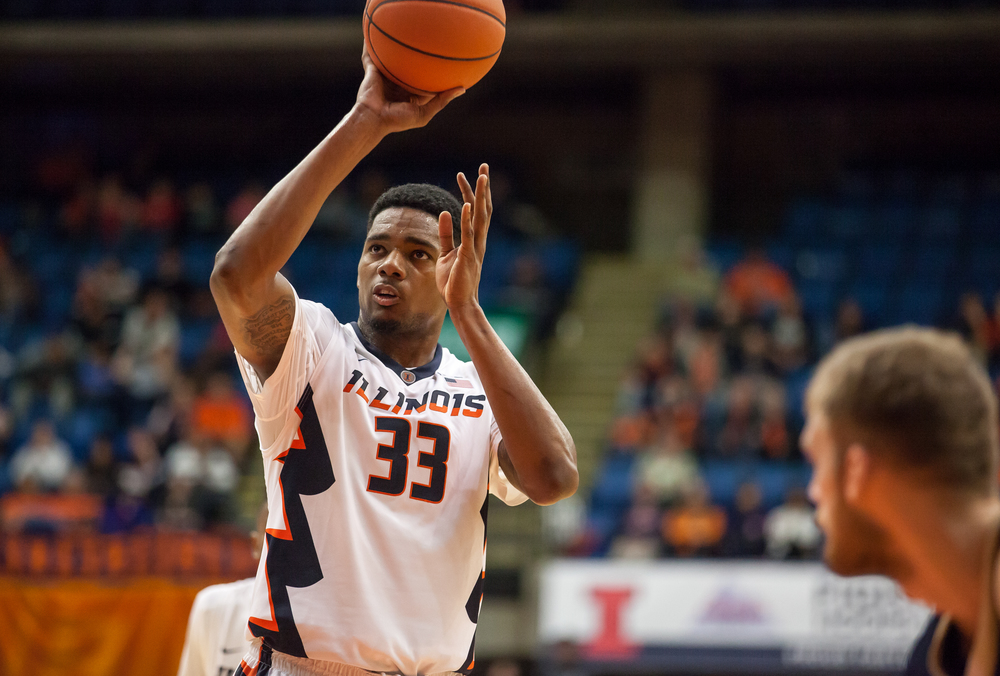 University of Illinois' Mike Thorne Jr. (33) shoots a set of free throws against the University of Illinois Springfield in the second half during an exhibition game at the Prairie Capital Convention Center, Sunday, Nov. 8, 2015, in Springfield, Ill. Justin L. Fowler/The State Journal-Register