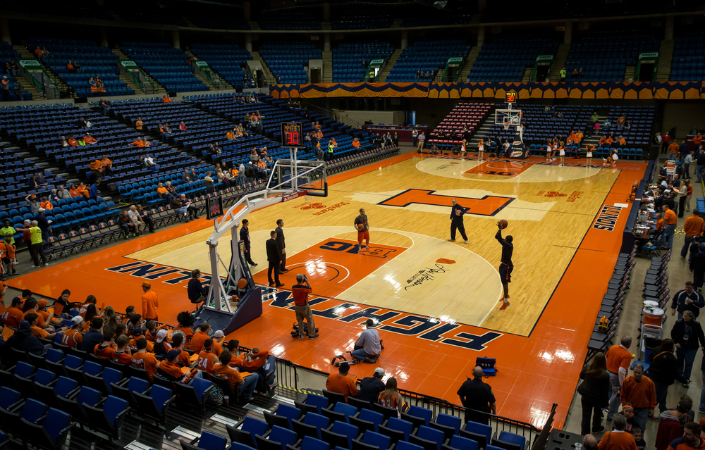 Members of the University of Illinois men's basketball team have a shoot around prior to their exhibition game against the University of Illinois Springfield at the Prairie Capital Convention Center, Sunday, Nov. 8, 2015, in Springfield, Ill. Justin L. Fowler/The State Journal-Register