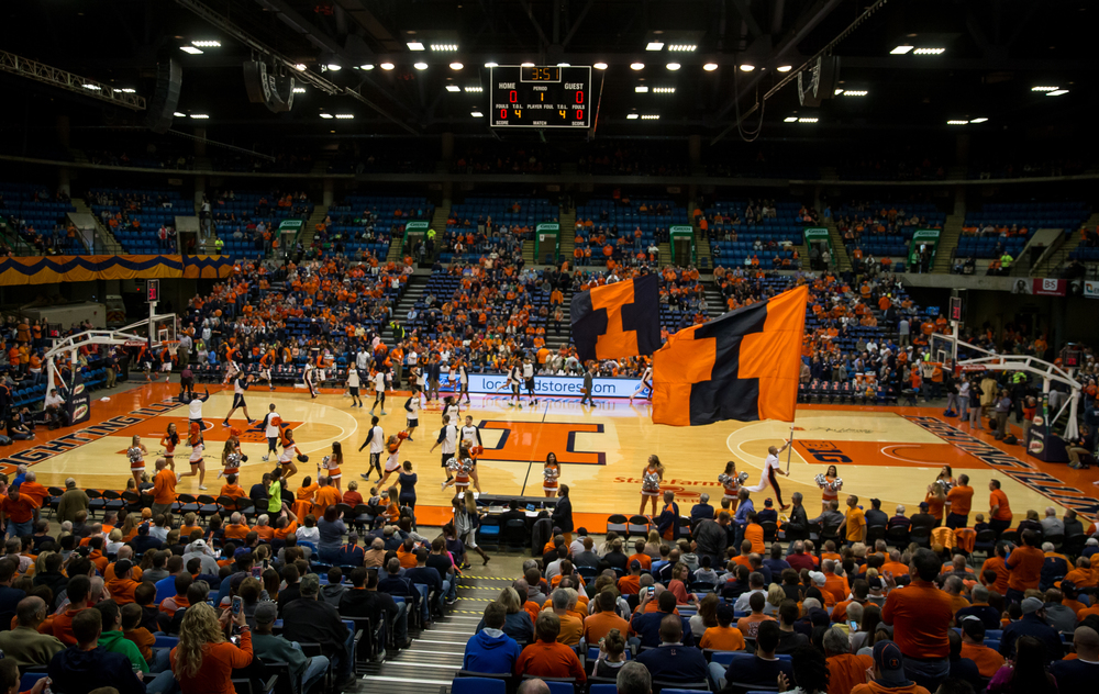 The Unviersity of Illinois men's basketball team takes the court to take on the University of Illinois Springfield in an exhibition game at the Prairie Capital Convention Center, Sunday, Nov. 8, 2015, in Springfield, Ill. Justin L. Fowler/The State Journal-Register