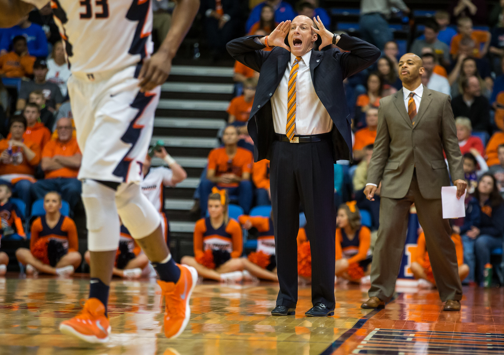 University of Illinois head coach John Groce calls out instructions to his team as they take on the University of Illinois Springfield in the fist half during an exhibition game at the Prairie Capital Convention Center, Sunday, Nov. 8, 2015, in Springfield, Ill. Justin L. Fowler/The State Journal-Register