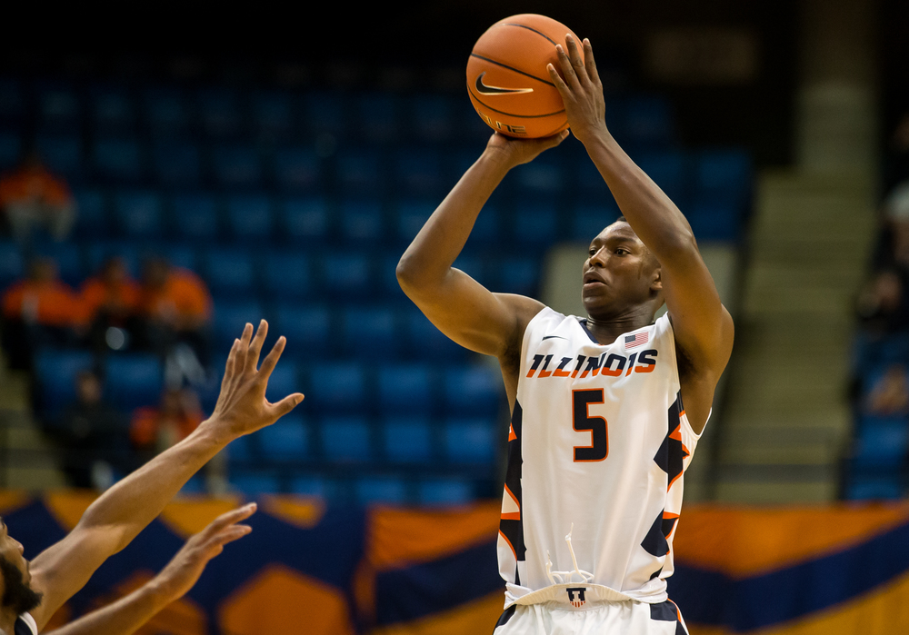 University of Illinois' Jalen Coleman-Lands (5) puts up a 3-point attempt against the University of Illinois Springfield in the first half during an exhibition game at the Prairie Capital Convention Center, Sunday, Nov. 8, 2015, in Springfield, Ill. Justin L. Fowler/The State Journal-Register