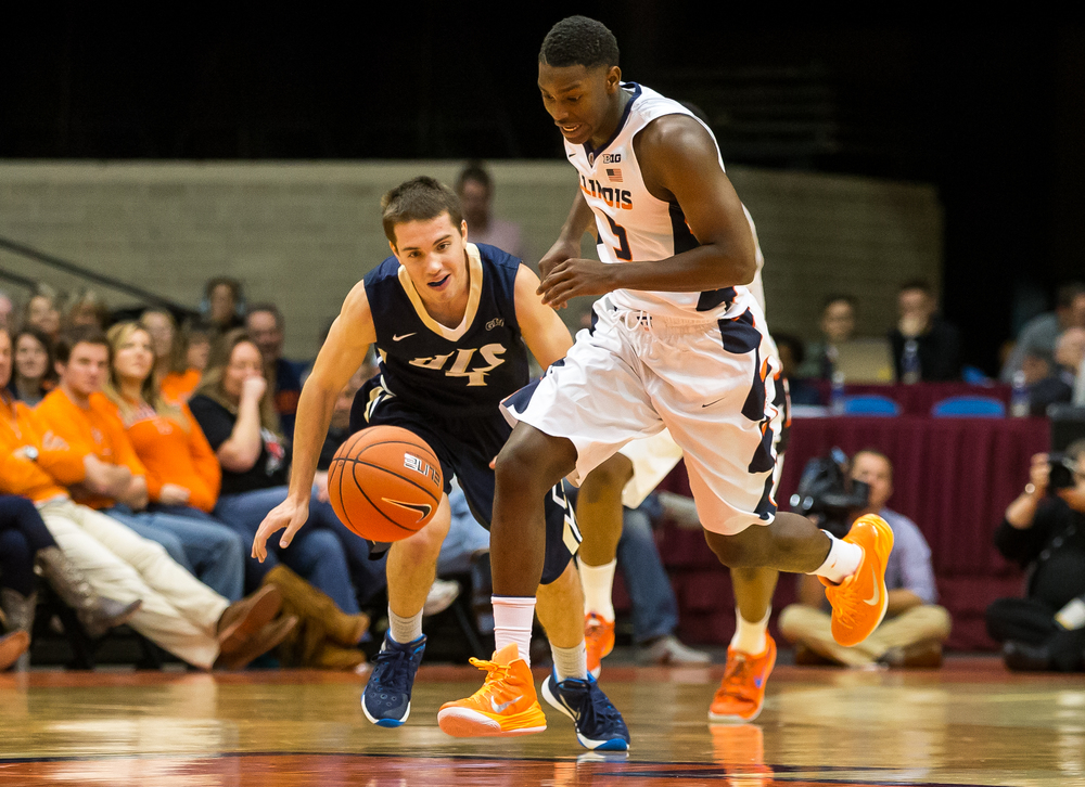 University of Illinois' Jalen Coleman-Lands (5) grabs a steal from University of Illinois Springfield's Logan Gonce (4) in the first half during an exhibition game at the Prairie Capital Convention Center, Sunday, Nov. 8, 2015, in Springfield, Ill. Justin L. Fowler/The State Journal-Register