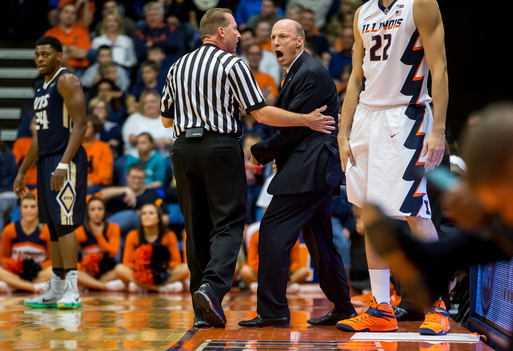 University of Illinois head coach John Groce reacts after confusion by the referees during a free throw in the first half during an exhibition game at the Prairie Capital Convention Center, Sunday, Nov. 8, 2015, in Springfield, Ill. Justin L. Fowler/The State Journal-Register
