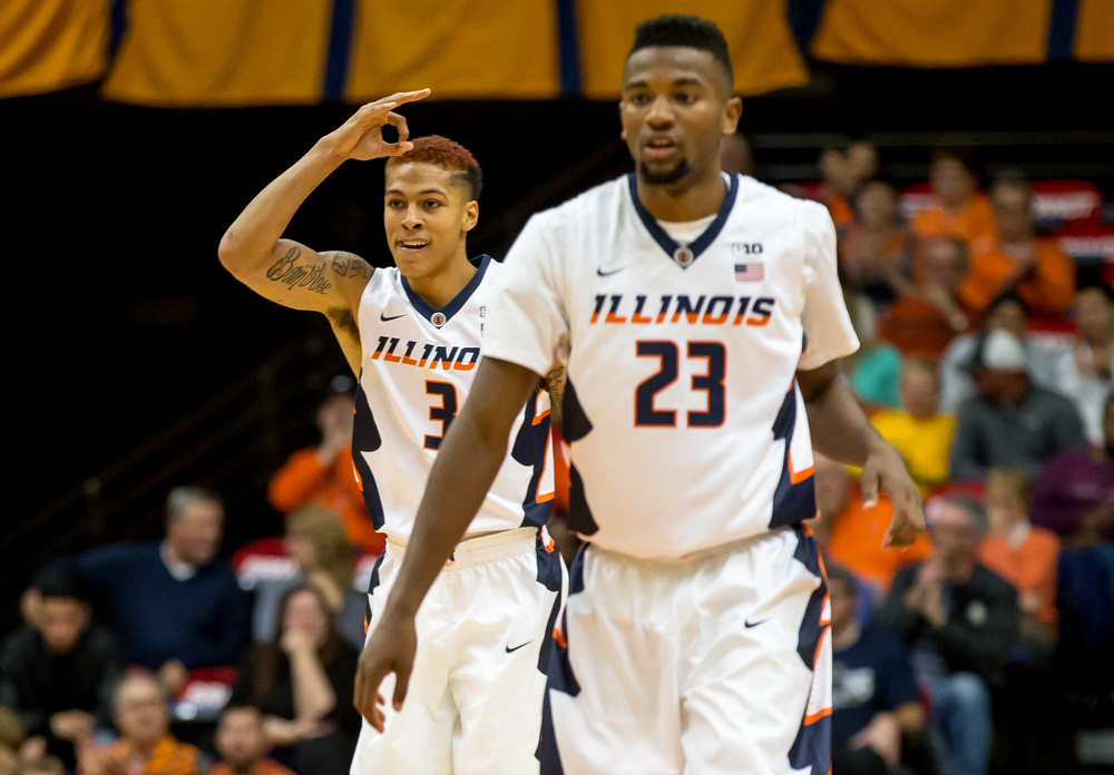 University of Illinois' Khalid Lewis (3) signals a three after his teammate Jalen Coleman-Lands (5) drained a shot against the University of Illinois Springfield in the first half during an exhibition game at the Prairie Capital Convention Center, Sunday, Nov. 8, 2015, in Springfield, Ill. Justin L. Fowler/The State Journal-Register