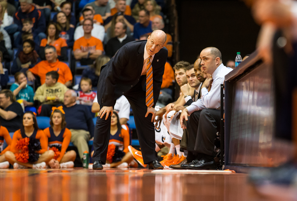 University of Illinois head coach John Groce talks with his assistants as the Illini take on the University of Illinois Springfield in the first half during an exhibition game at the Prairie Capital Convention Center, Sunday, Nov. 8, 2015, in Springfield, Ill. Justin L. Fowler/The State Journal-Register