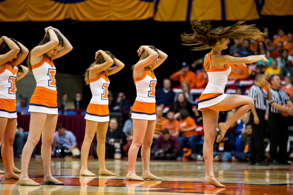 The University of Illinois' Illinettes Dance Team perform a routine during a break in play as Illinois takes on the University of Illinois Springfield in the first half during an exhibition game at the Prairie Capital Convention Center, Sunday, Nov. 8, 2015, in Springfield, Ill. Justin L. Fowler/The State Journal-Register