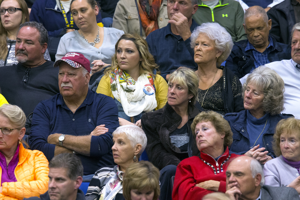 Members of the audience at the Donald Trump campaign event listen to the Republican candidate for president Monday, Nov. 9, 2015 at the Prairie Capital Convention Center. Rich Saal/The State Journal-Register