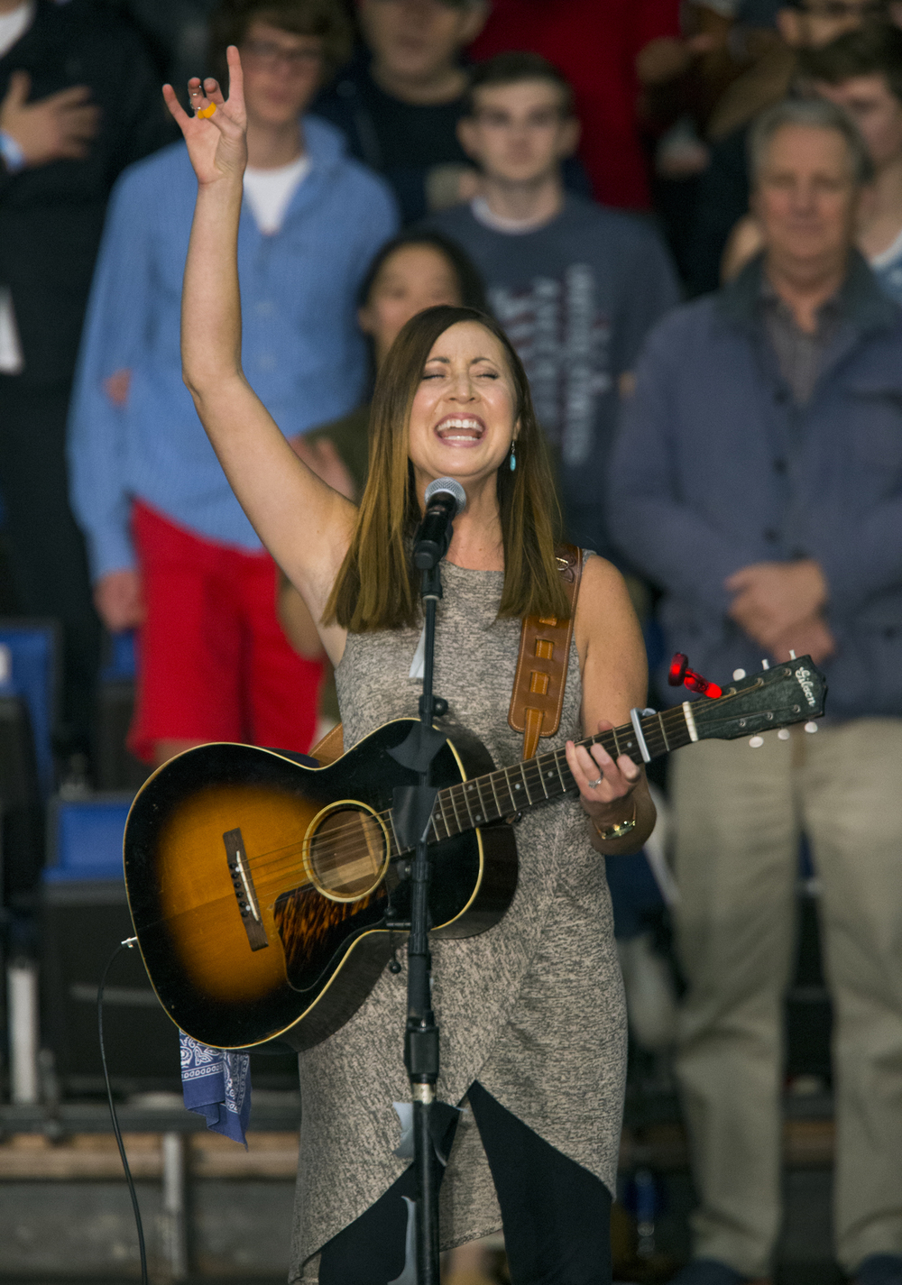 Amy Benton of Springfield sang the National Anthem and God Bless America for the crowd at the Donald Trump campaign event Monday, Nov. 9, 2015 at the Prairie Capital Convention Center. Rich Saal/The State Journal-Register