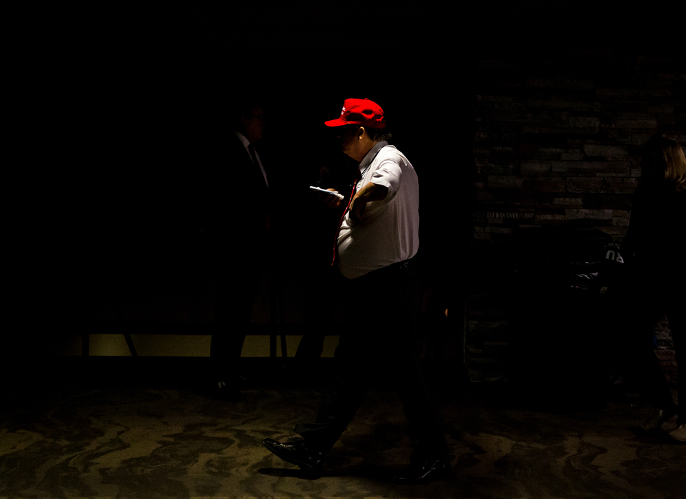 "Fans of Republican presidential candidate Donald Trump, many wearing the red hat with slogan ""Make America Great Again,"" make their way inside for Trump's campaign stop at the Prairie Capital Convention Center, Monday, Nov. 9, 2015, in Springfield, Ill. Justin L. Fowler/The State Journal-Register"