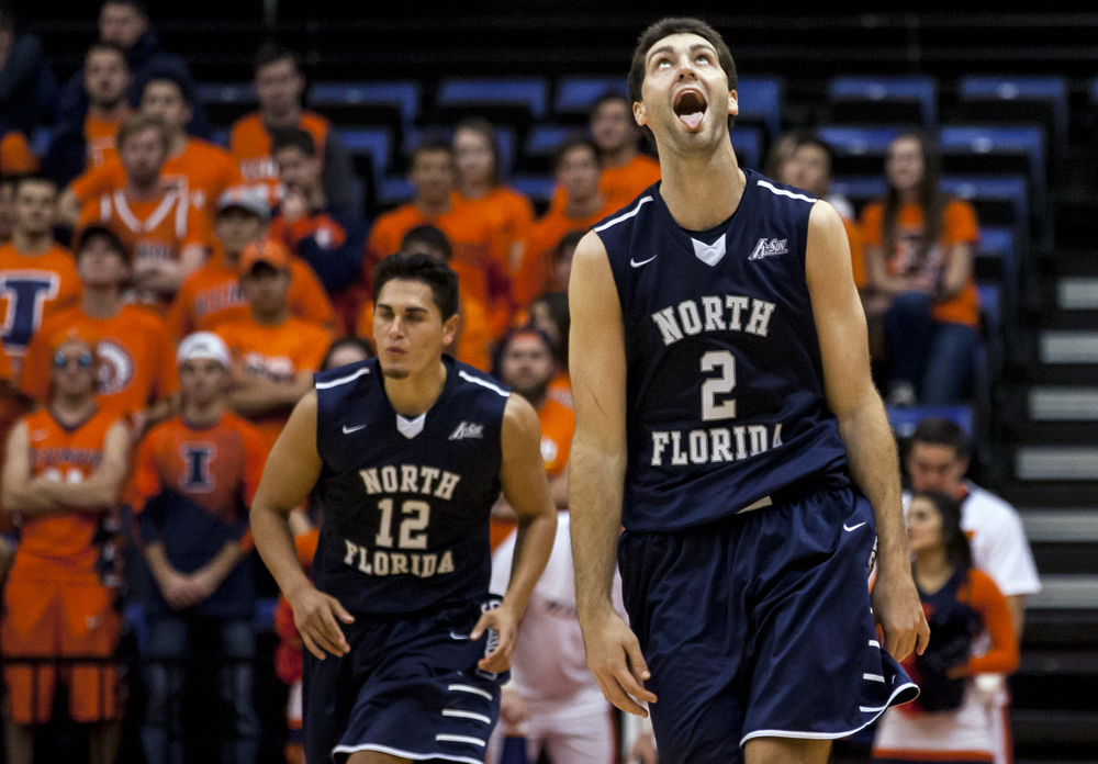 University of North Florida's Beau Beech (2) reacts after hitting his seventh 3-pointer of the night against the University of Illinois in the second half at the Prairie Capital Convention Center, Friday, Nov. 13, 2015, in Springfield, Ill. Beech had 25 points on 7-8 shooting from beyond the arc. Justin L. Fowler/The State Journal-Register