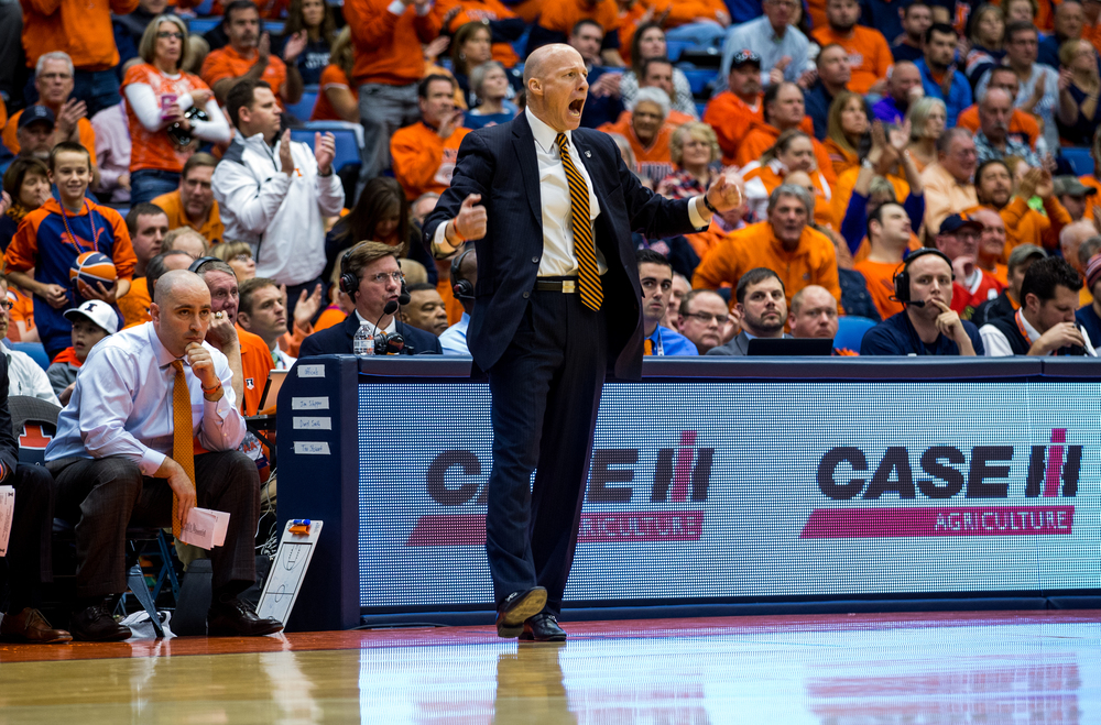 University of Illinois men's basketball coach John Groce tries to the get the crowd fired up as the Illini trail the University of North Florida in the second half at the Prairie Capital Convention Center, Friday, Nov. 13, 2015, in Springfield, Ill. Justin L. Fowler/The State Journal-Register