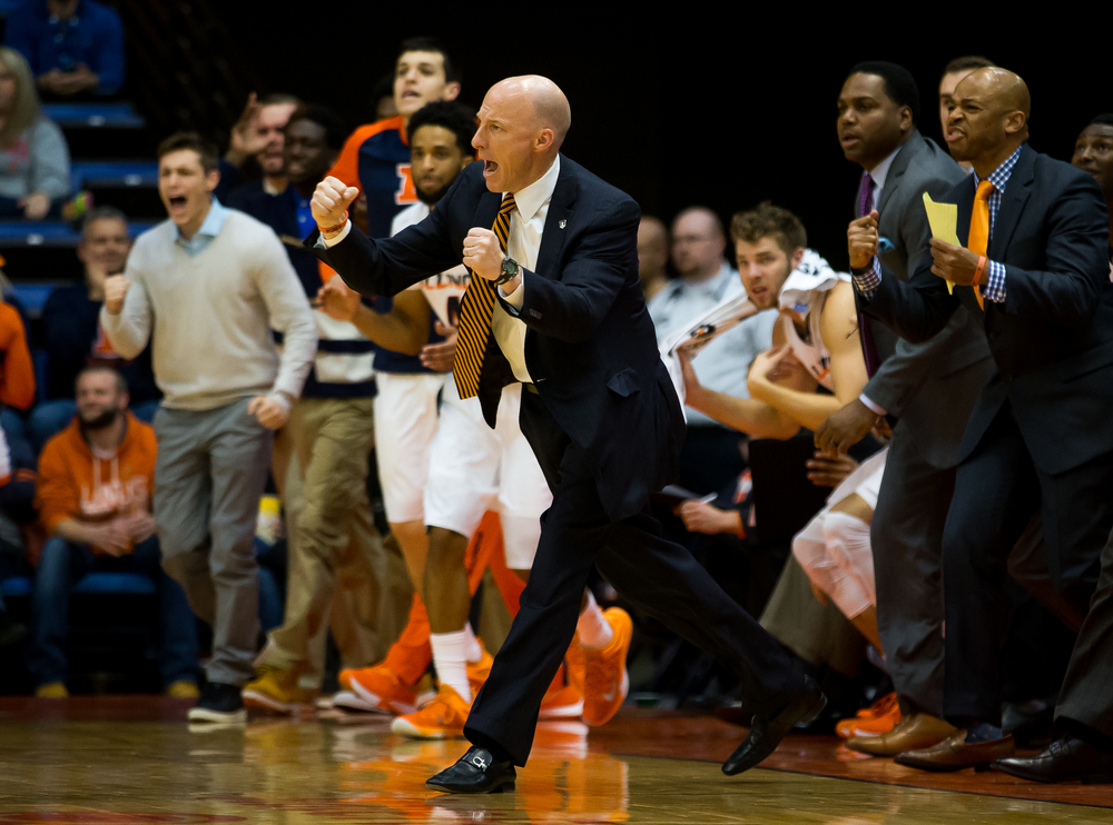 University of Illinois men's basketball coach John Groce gets fired up during a timeout as the Illini take on the University of North Florida in the first half at the Prairie Capital Convention Center, Friday, Nov. 13, 2015, in Springfield, Ill. Justin L. Fowler/The State Journal-Register
