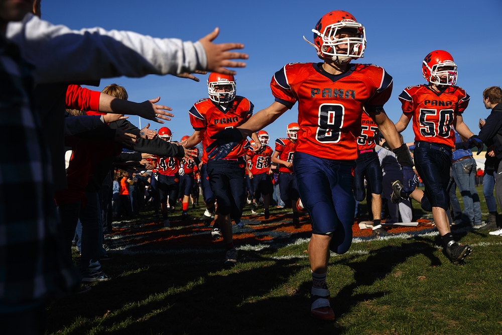 Pana's Nick McMillen and the Panthers take the field to face Auburn during a 2A quarterfinal game in Pana Nov. 14, 2015. Ted Schurter/The State Journal-Register