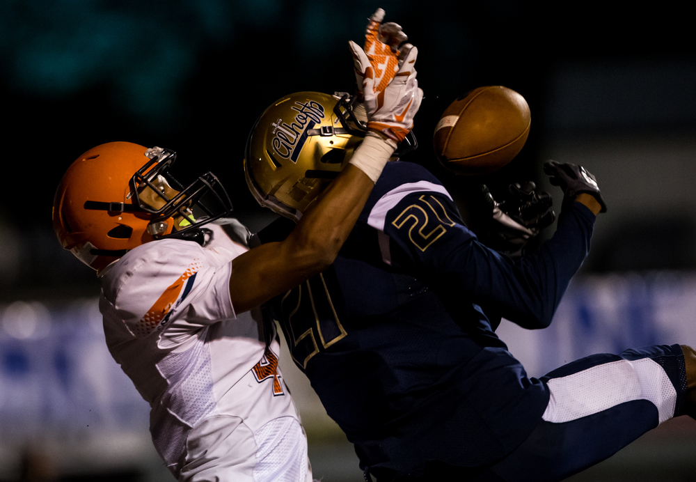 Belleville Althoff's CJ Coldon (21) is called for pass interference on an interception in front of Rochester's D'ante' Cox (4) in the end zone in the second half during the quarterfinal round of the Class 4A playoffs at Lindenwood University-Belleville, Saturday, Nov. 14, 2015, in Belleville , Ill. Justin L. Fowler/The State Journal-Register