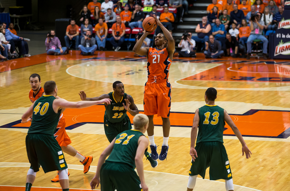 University of Illinois' Malcolm Hill (21) fires a jumper against North Dakota State University during the first half at the Prairie Capital Convention Center, Sunday, Nov. 15, 2015, in Springfield, Ill. Justin L. Fowler/The State Journal-Register