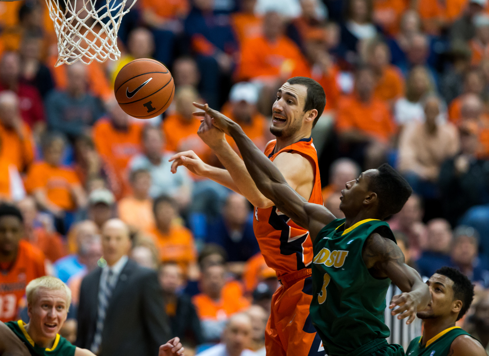 University of Illinois' Maverick Morgan (22) battles for a rebound against North Dakota State University's Carlin Dupree (3) during the second half at the Prairie Capital Convention Center, Sunday, Nov. 15, 2015, in Springfield, Ill. Justin L. Fowler/The State Journal-Register
