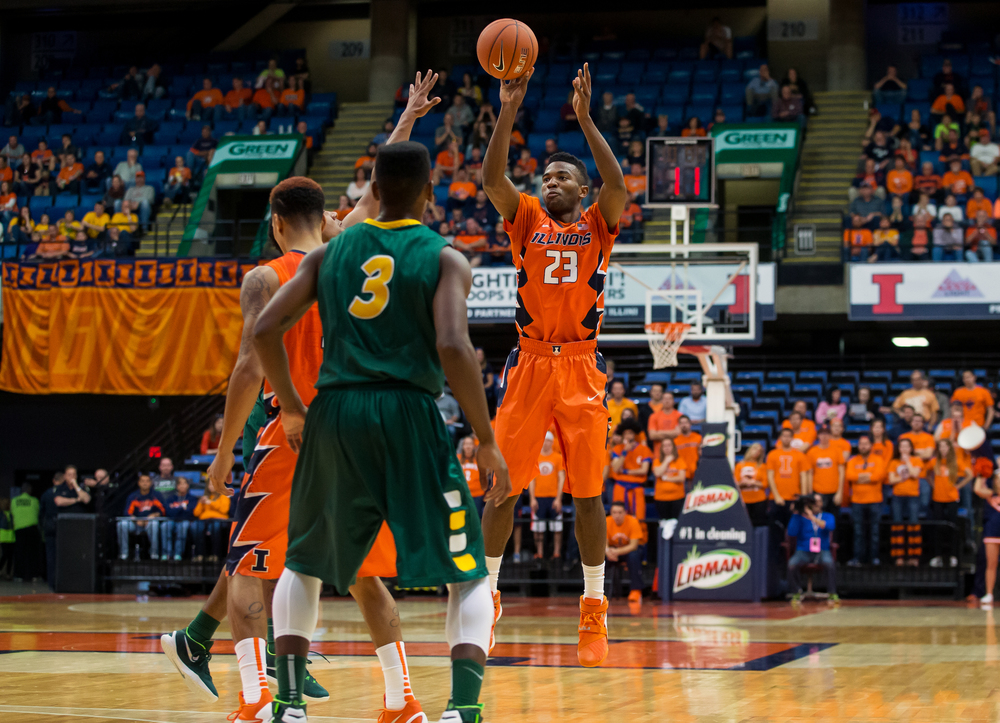 University of Illinois' Aaron Jordan (23) fires off a 3-pointer against North Dakota State during the second half at the Prairie Capital Convention Center, Sunday, Nov. 15, 2015, in Springfield, Ill. Justin L. Fowler/The State Journal-Register
