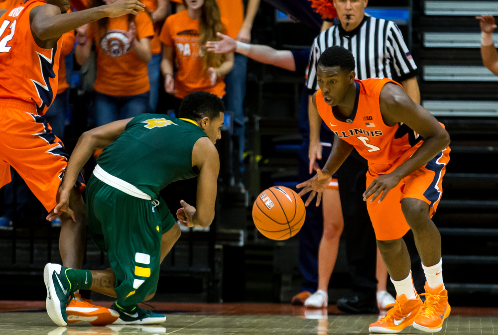 University of Illinois' Jalen Coleman-Lands (5) steals the ball away from North Dakota State University's Malik Clements (4) during the second half at the Prairie Capital Convention Center, Sunday, Nov. 15, 2015, in Springfield, Ill. Justin L. Fowler/The State Journal-Register