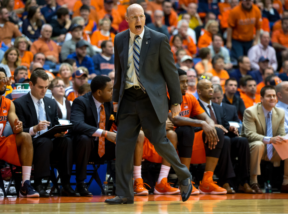 University of Illinois men's basketball coach John Groce screams out instructions to his team as they take on North Dakota State during the second half at the Prairie Capital Convention Center, Sunday, Nov. 15, 2015, in Springfield, Ill. Justin L. Fowler/The State Journal-Register
