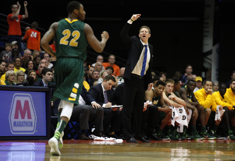 North Dakota State University men's basketball coach David Richman calls out instructions to his players as they take on the University of Illinois during the second half at the Prairie Capital Convention Center, Sunday, Nov. 15, 2015, in Springfield, Ill. Justin L. Fowler/The State Journal-Register