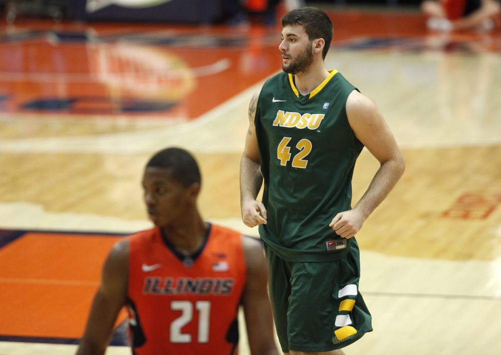 North Dakota State University's Dylan Miller (42) comes out to the floor to get a few minutes of playing time against the University of Illinois during the first half at the Prairie Capital Convention Center, Sunday, Nov. 15, 2015, in Springfield, Ill. Justin L. Fowler/The State Journal-Register
