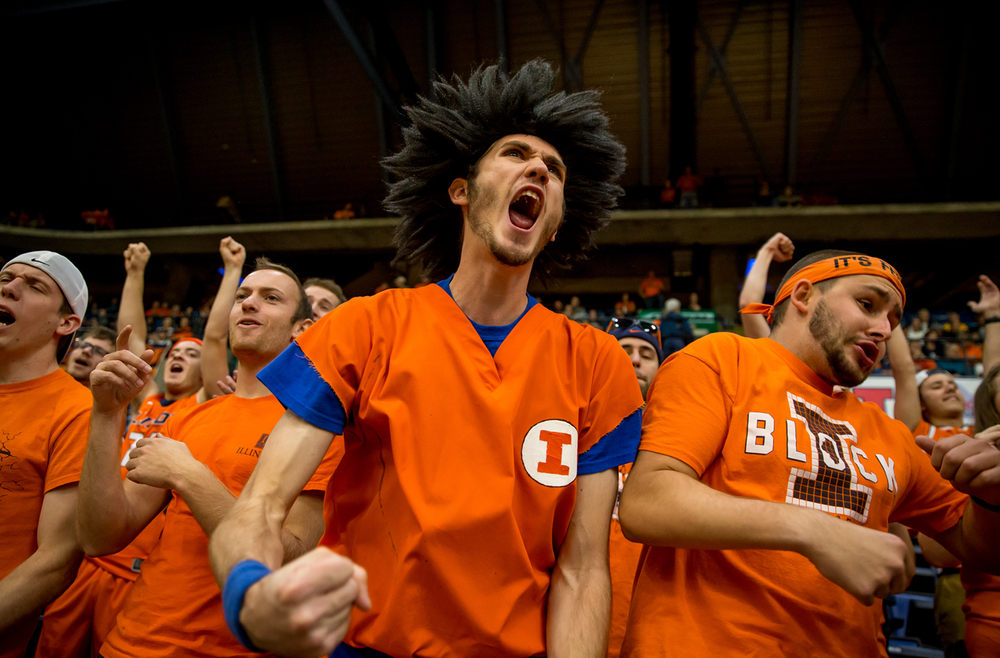 Orange Krush member Andy Wszalek, center, cheers on the team as they make an early basket against the University of Illinois Springfield in the first half during an exhibition game at the Prairie Capital Convention Center, Sunday, Nov. 8, 2015, in Springfield, Ill. Justin L. Fowler/The State Journal-Register