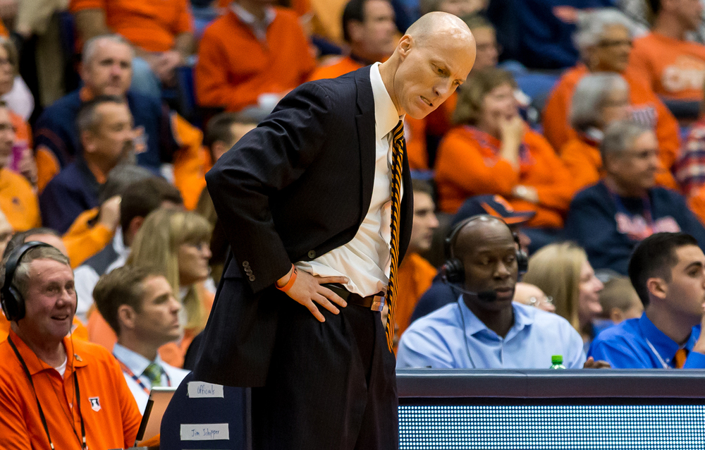 University of Illinois men's basketball coach John Groce reacts after the Illini fail to make a defensive stop against the University of North Florida in the second half at the Prairie Capital Convention Center, Friday, Nov. 13, 2015, in Springfield, Ill. Justin L. Fowler/The State Journal-Register