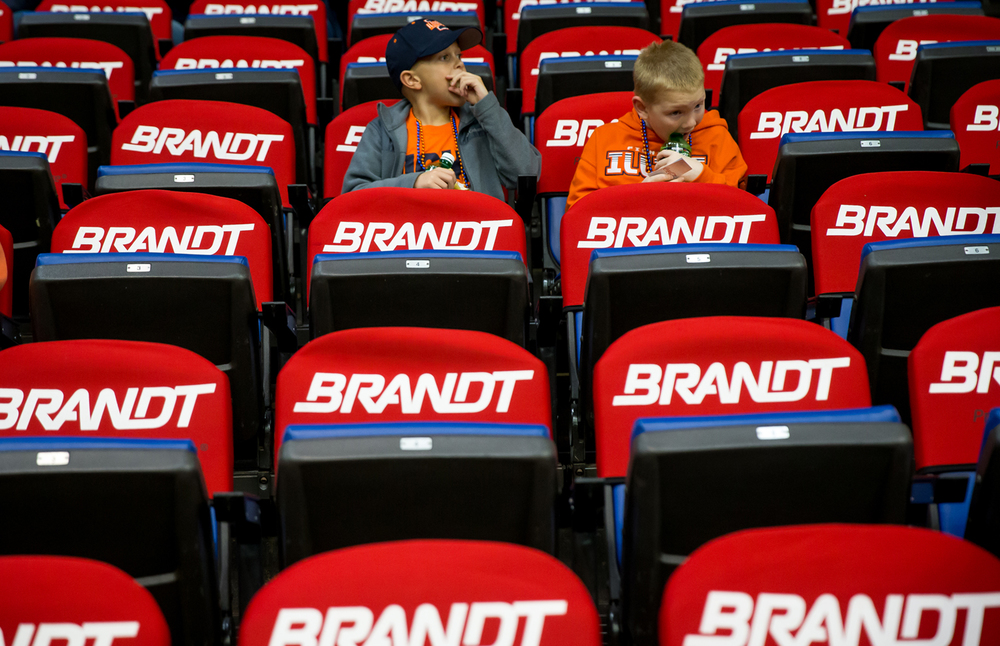 Slade Barton, left, and his friend Kendall Engel, take their seats for the University of Illinois vs. the University of North Florida game at the Prairie Capital Convention Center, Friday, Nov. 13, 2015, in Springfield, Ill. Justin L. Fowler/The State Journal-Register