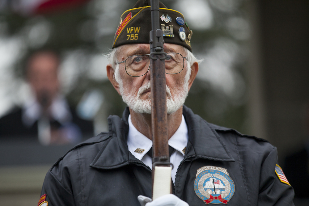 John Oncken takes the position of left guard during presentation of the colors by the Inter-Veteran Burial Detail of Sangamon County Honor Guard Wednesday, Nov. 11, 2015 during a Veterans Day ceremony at Camp Butler National Cemetery. Rich Saal/The State Journal-Register