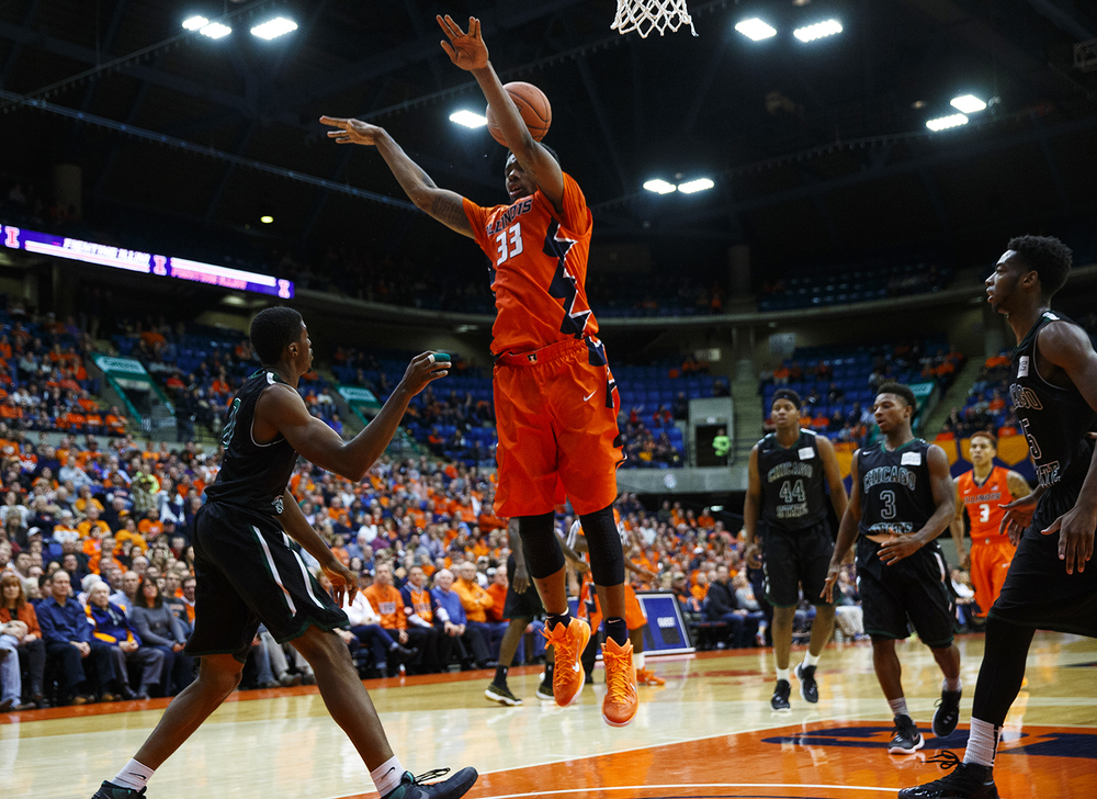 Illinois' Mike Thorne Jr. can't corral this loose ball against Chicago State at the Praire Capital Convention Center Monday, Nov. 23, 2015. Ted Schurter/The State Journal-Register