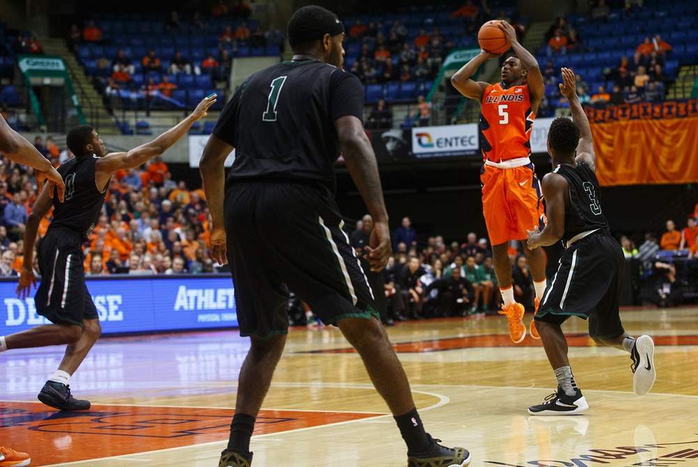 Illinois' Jalen Coleman-Lands launches a three against Chicago State at the Praire Capital Convention Center Monday, Nov. 23, 2015. Ted Schurter/The State Journal-Register