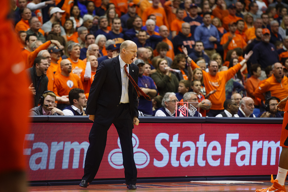 Illinois head coach John Groce vocalizes his frustration to the officials in the second half as the Illini play Chicago State at the Praire Capital Convention Center Monday, Nov. 23, 2015. Ted Schurter/The State Journal-Register