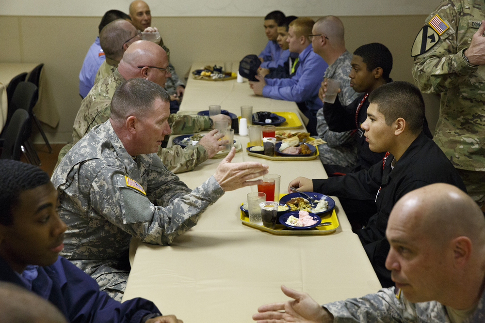 Brig. Gen. Richard Mayes, adjutant general of the Illinois National Guard, left, and his command staff visited with Lincoln's Challenge Academy cadets during lunch Tuesday, Nov. 24, 2015. Rich Saal/The State Journal-Register