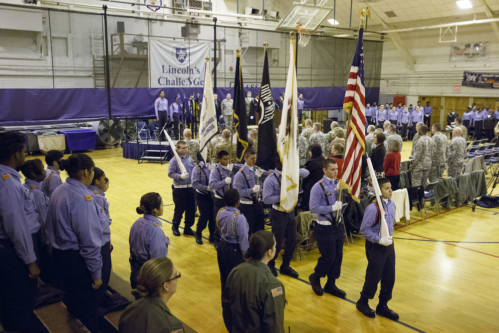 The Lincoln's Challenge Academy color guard presented the colors during an assembly Tuesday, Nov. 24, 2015. Rich Saal/The State Journal-Register