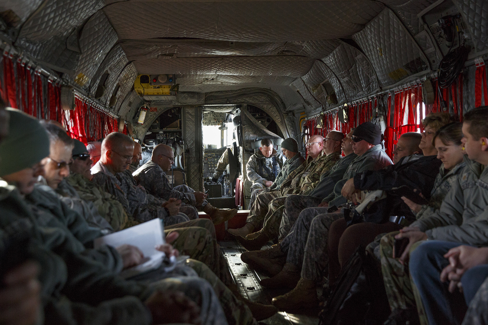 The Illinois National Guard command staff flew to the former Chanute Air Base in Rantoul, where the Lincoln's Challenge Academy is located, aboard a CH-47 Chinook helicopter Tuesday, Nov. 24, 2015. Rich Saal/The State Journal-Register