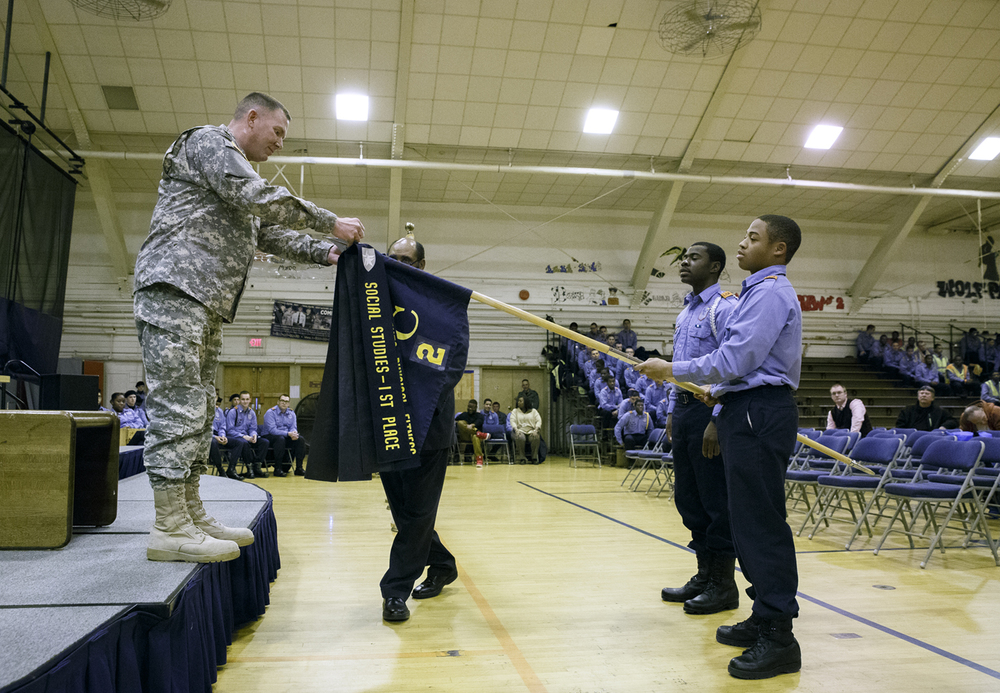 Brig. Gen. Richard Mayes, adjutant general of the Illinois National Guard, recognized members of Lincoln's Challenge Academy for academic achievement during an assembly Tuesday, Nov. 24, 2015. Rich Saal/The State Journal-Register