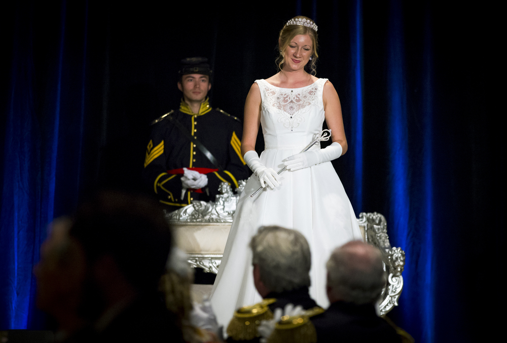 "Queen Christine Rolf takes her place on stage with her scepter along with King Alexander Kane during the 84th Beaux Arts Ball, ""The Jewel Ball,"" at the Crowne Plaza Hotel, Saturday, Nov. 28, 2015, in Springfield, Ill. The Beaux Arts Ball raises funds for the Springfield Art Association's operating expenses and helps support their art outreach programs, classes, special events, lectures and camps. Justin L. Fowler/The State Journal-Register"