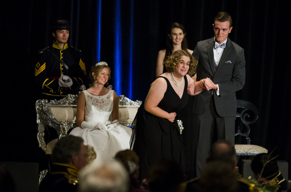 "Katherine Trask, bows to the crowd as she takes the stage as a Special Maid, during the 84th Beaux Arts Ball, ""The Jewel Ball,"" at the Crowne Plaza Hotel, Saturday, Nov. 28, 2015, in Springfield, Ill. Justin L. Fowler/The State Journal-Register"