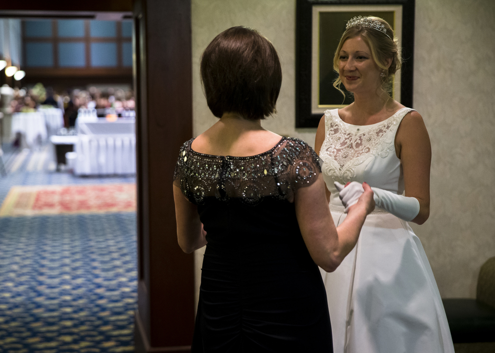 "Queen Christine Elizabeth Rolf, right, practices her speech one last time with her mother, Alice Rolf, prior to making her entrance during the 84th Beaux Arts Ball, ""The Jewel Ball,"" at the Crowne Plaza Hotel, Saturday, Nov. 28, 2015, in Springfield, Ill. Justin L. Fowler/The State Journal-Register"