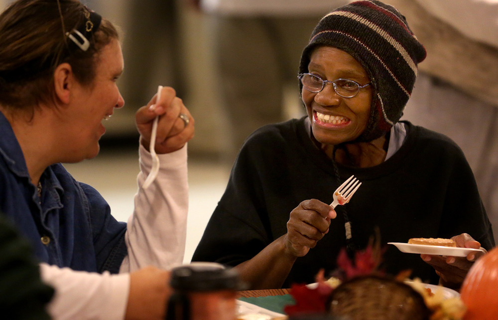 Christine White at right enjoys a slice of sugar-free pie and good 