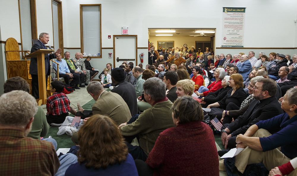 U.S. Sen. Dick Durbin, D-Illinois, addresses the crowd at the Interfaith Peace Vigil sponsored by the Islamic Society of Greater Springfield at their masjid Sunday, Dec. 13, 2015. Ted Schurter/The State Journal-Register