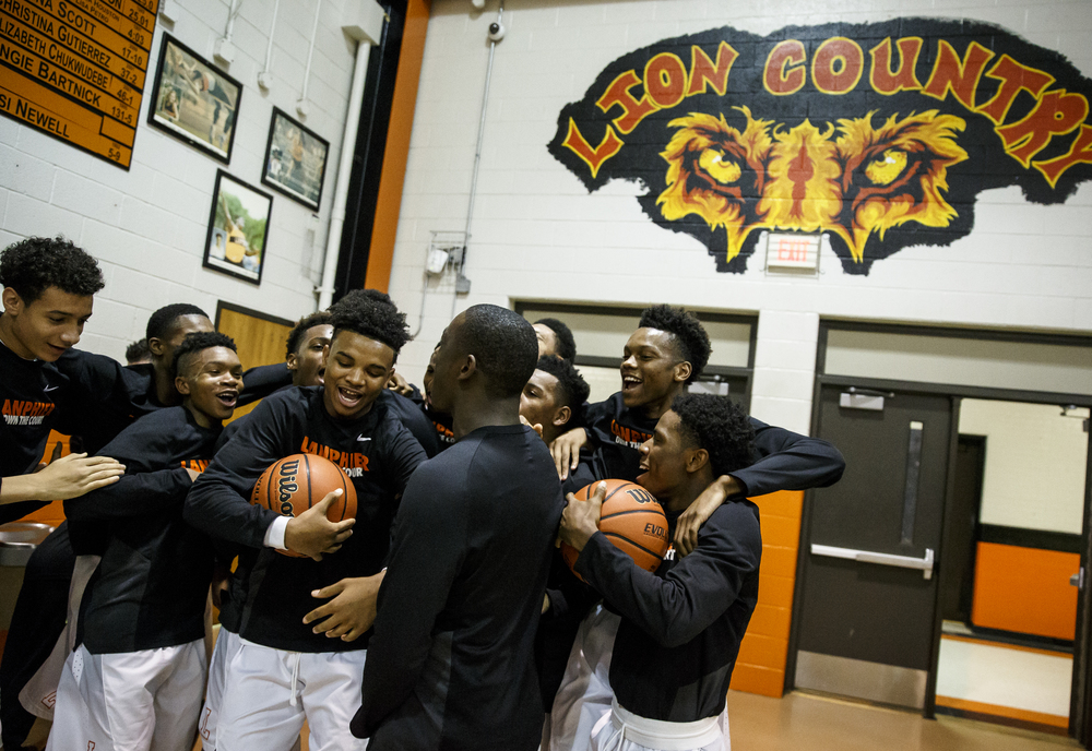 The Lanphier Lions get pumped up prior to taking on Jacksonville at Lober-Nika Gymnasium, Friday, Dec. 11, 2015, in Springfield, Ill. Justin L. Fowler/The State Journal-Register