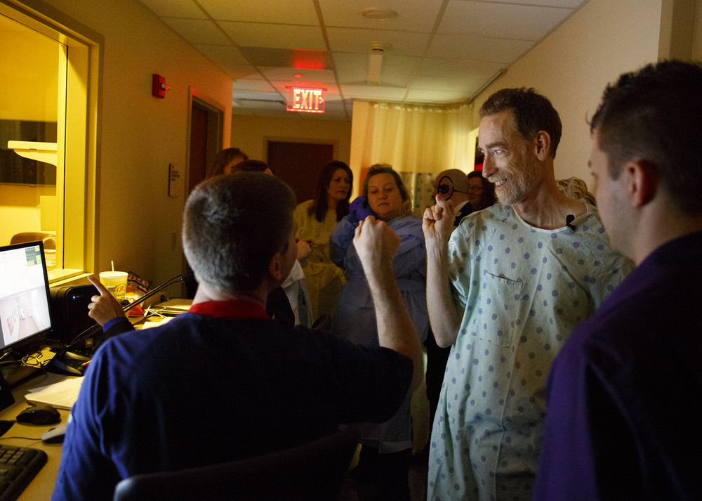 John Petter is congratulated for his role as a patient actor during a training simulation at the Center for Learning and Innovation at Memorial Medical Center Thursday, Dec. 17, 2015. Rich Saal/The State Journal-Register
