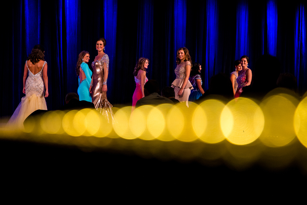 Miss Richland County Fair Queen 2014, Sadie Gassmann, of Olney, Ill., third from left, competes in the Stage Presence Competition during the 2015 Miss Illinois County Fair Queen Pageant at the Crowne Plaza, Sunday, Jan. 18, 2015, in Springfield, Ill. Justin L. Fowler/The State Journal-Register