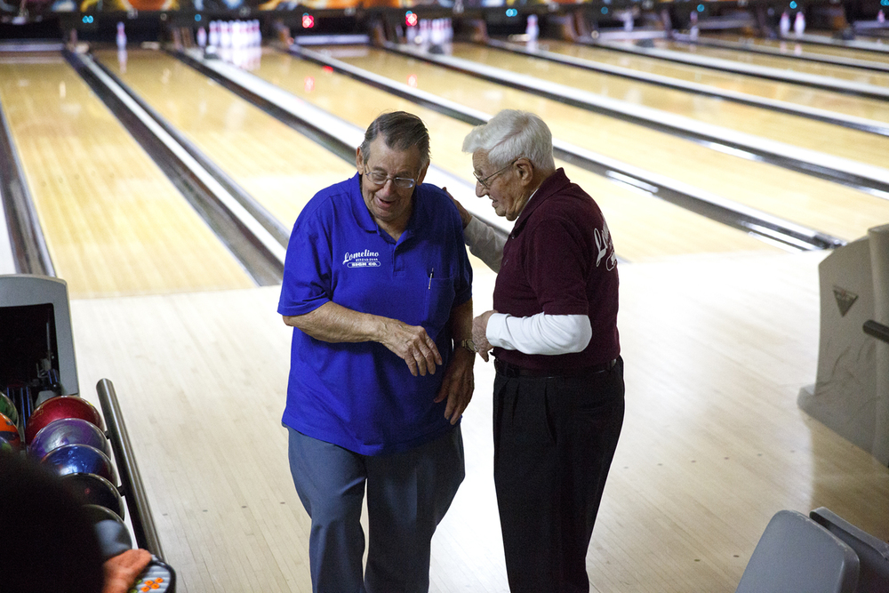 For Nick Frasco, 93, left, and John Mayes, 94, bowling is a game of life that combines friendly competition, social time and a little exercise. The two played during their regular league night Tuesday, March 11, 2015 at King Pin Lanes. Rich Saal/The State Journal-Register