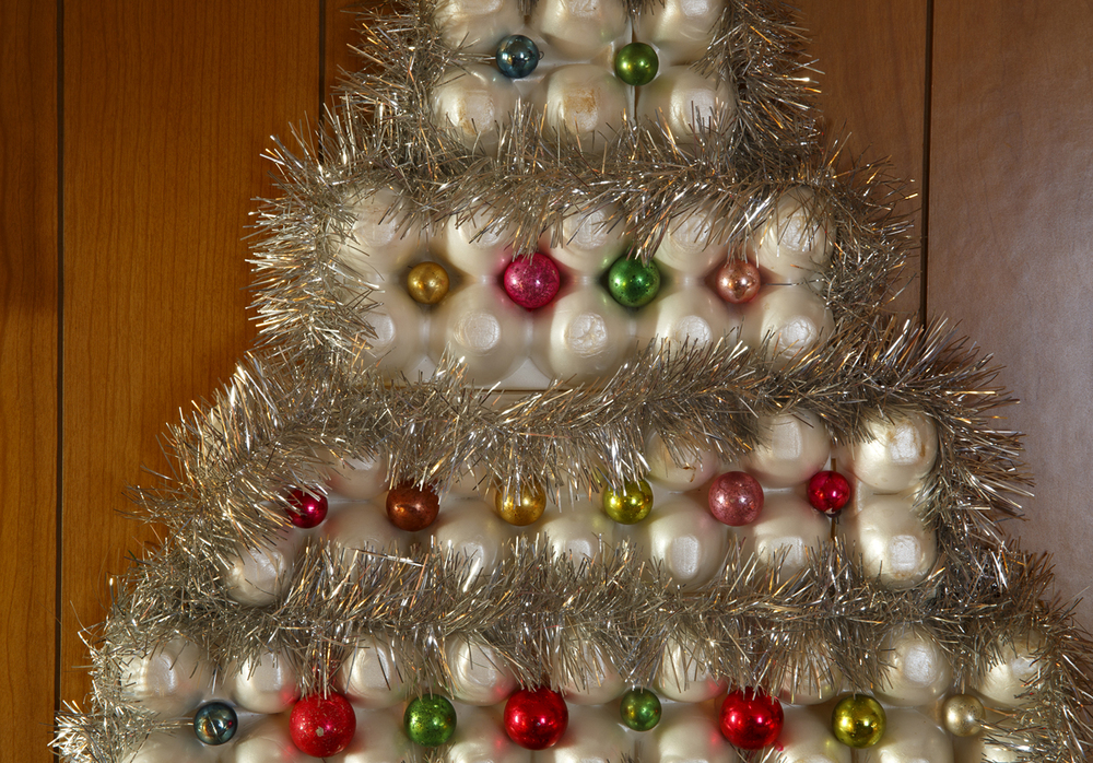 A Christmas tree made of Styrofoam egg cartons is part of Hulbert's Christmas collection.