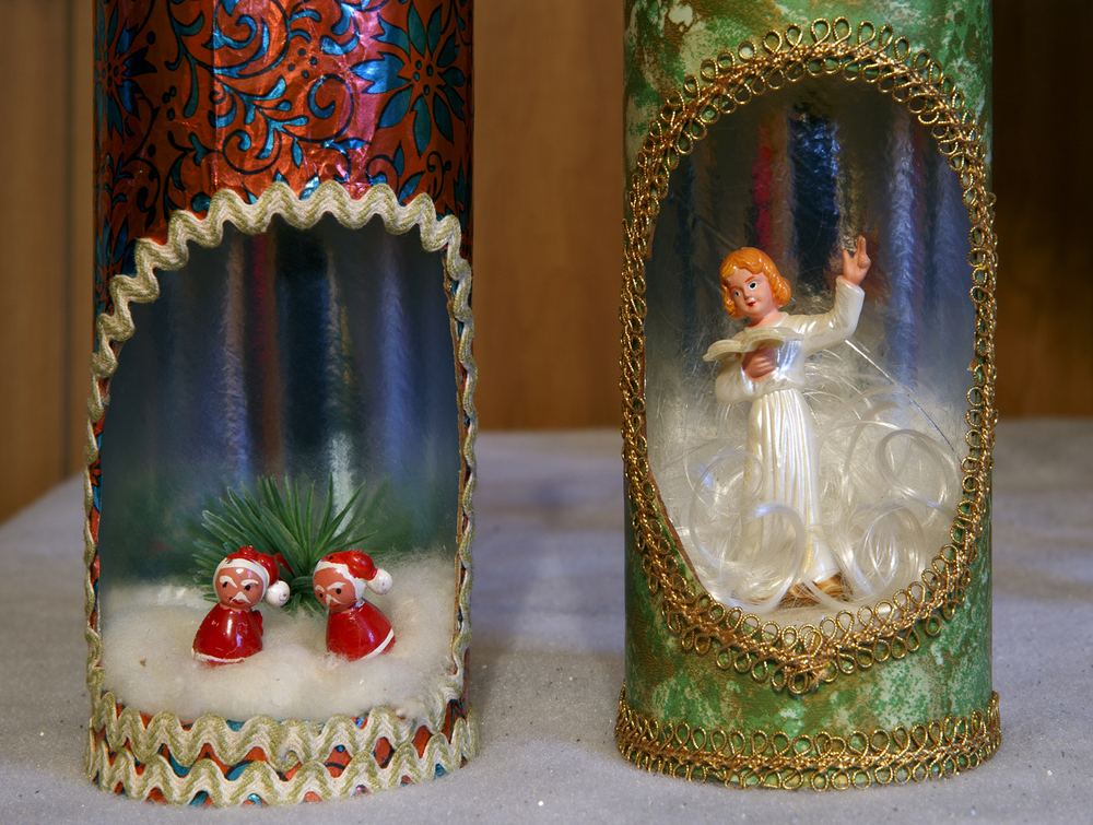 Pringles chip cans made into Christmas decorations are part of Jean Hulbert's collection.