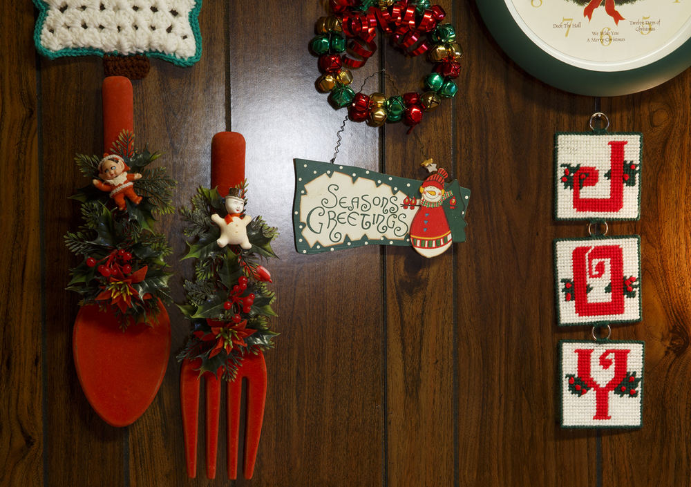 An oversized spoon and fork, purchased in Hillsboro at Walker's Five and Dime in 1950, were the first pieces in Jean Hulbert's collection of Christmas decorations.