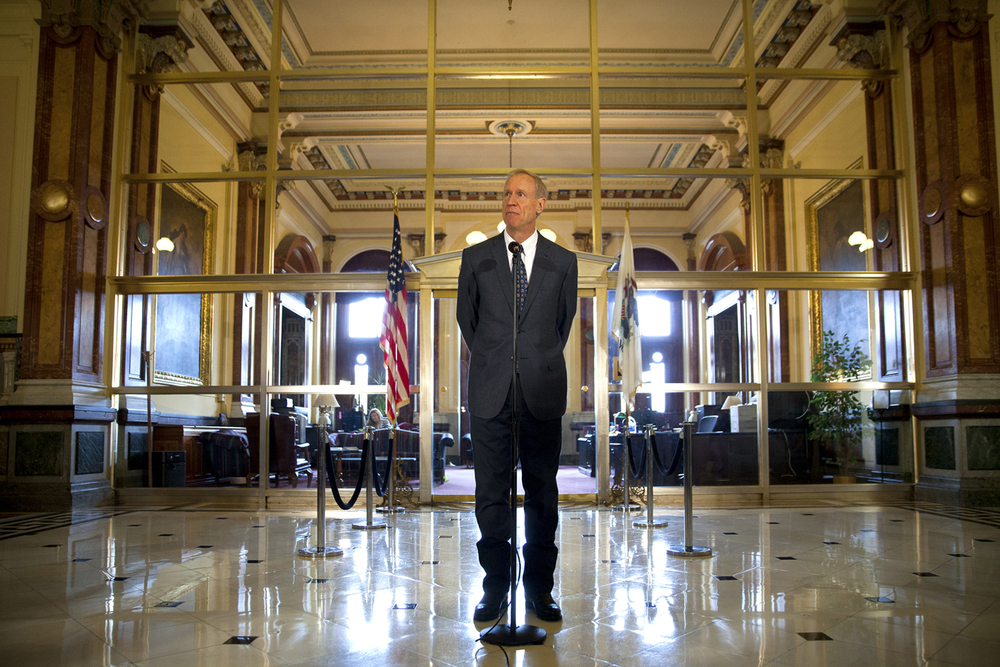 Gov. Bruce Rauner said Democrats should simply pass a tax increase to balance the budget if they are unwilling to approve his reform measures during a press conference Wednesday, July 8, 2015 outside his office at the Capitol in Springfield, Ill. Rich Saal/The State Journal-Register
